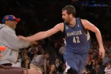 Watch Kevin Love High-Five Spike Lee After Hitting Big Shot vs. Knicks