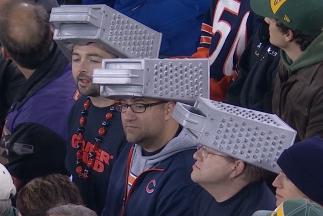 Bears Fans Troll Cheeseheads with Cheese Grater Headgear