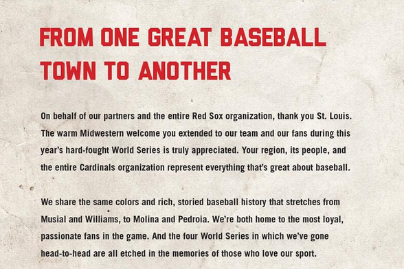 Boston Red Sox Thank St. Louis and Cardinals Fanbase with Newspaper Ad