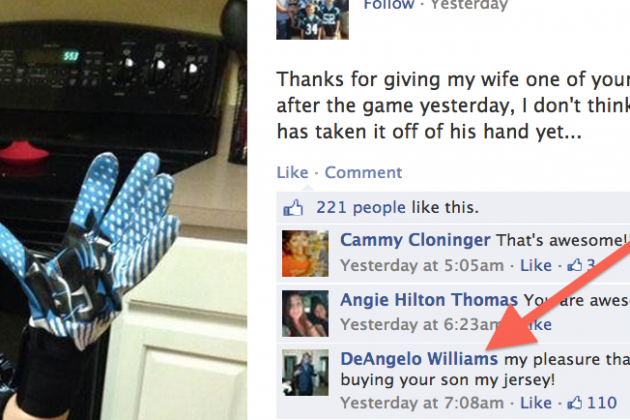 Panthers RB DeAngelo Williams Responds to Fan on Facebook, Shows He's Class Act