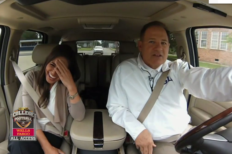 LSU Football Coach Les Miles Runs Red Light While Conducting ESPN Interview