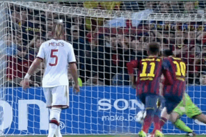 GIF: Lionel Messi Scores Penalty vs. Milan After Neymar Is Fouled by Abate