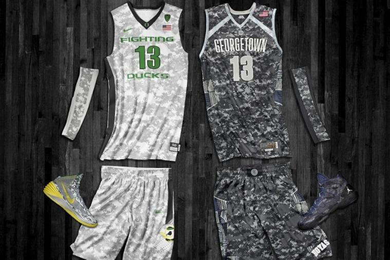 Oregon and Georgetown Unveil Camo Uniforms and Shoes for South Korea Game