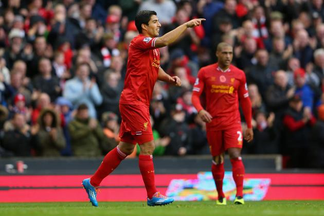 GIF: Luis Suarez Double Helps Liverpool to 4-0 Lead Against Fulham