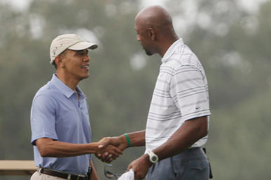President Barack Obama Goes Golfing with Alonzo Mourning in Davie