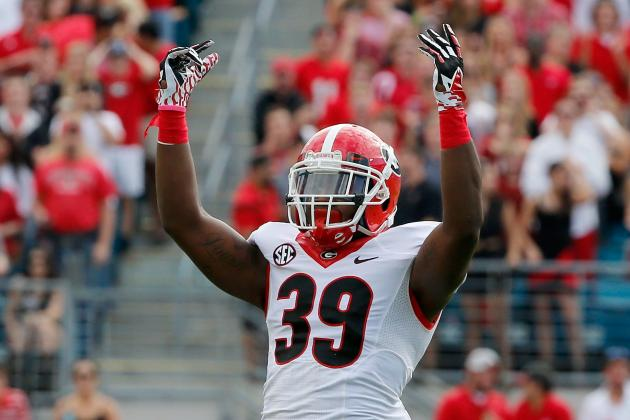 Georgia's Corey Moore Ejected for Targeting vs. Appalachian State