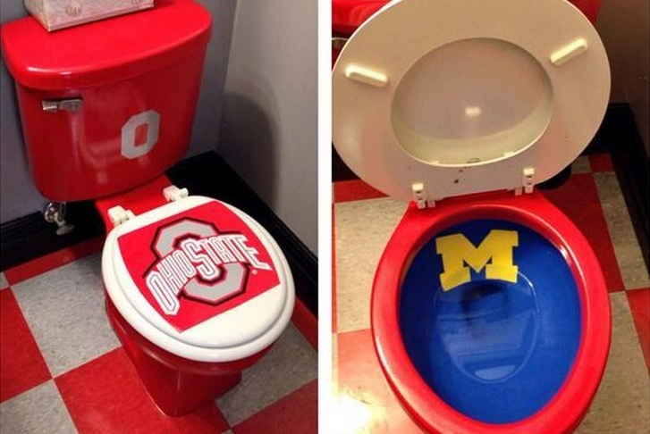 Ohio State Fan Disrespects Michigan with Custom Toilet Design