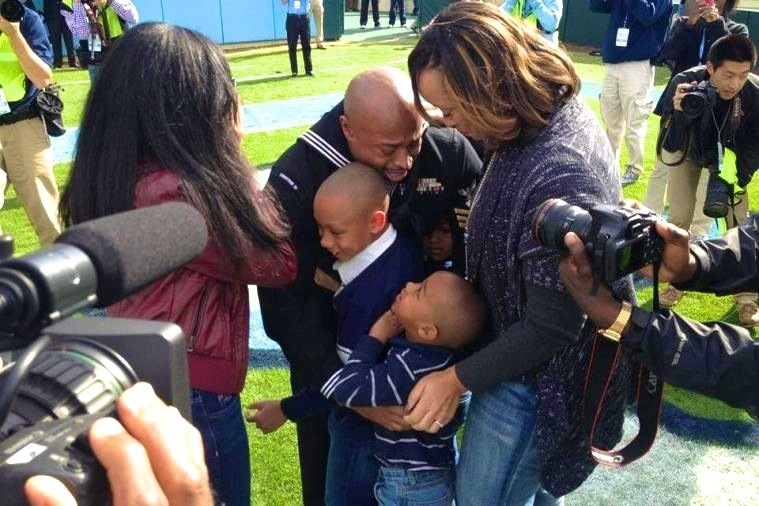 A Military Father Surprises His Children at Virginia-North Carolina Game