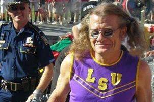 Old Tigers Fan Sports Cheerleading Outfit and Pigtails at LSU-Alabama Game