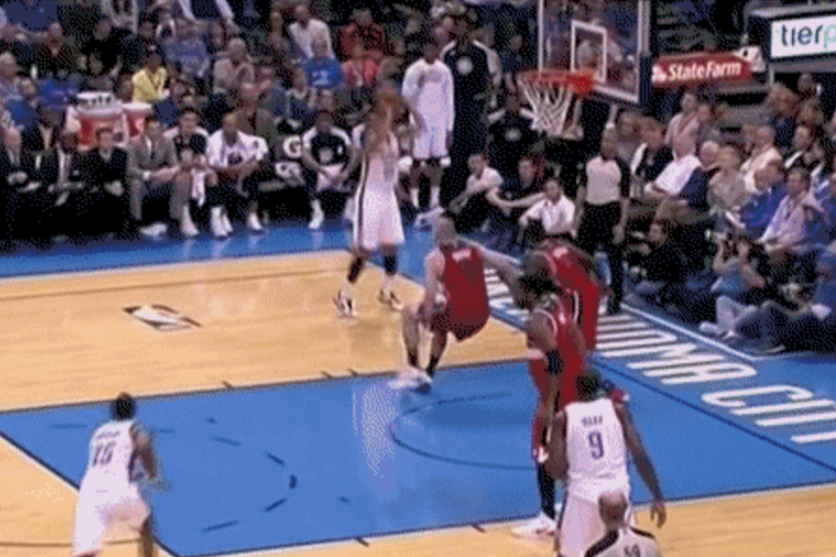 Marcin Gortat Goes Down After a Thabo Sefolosha Crossover