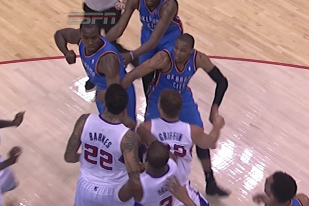 Serge Ibaka, Matt Barnes Ejected for Shoves, Clenched Fist