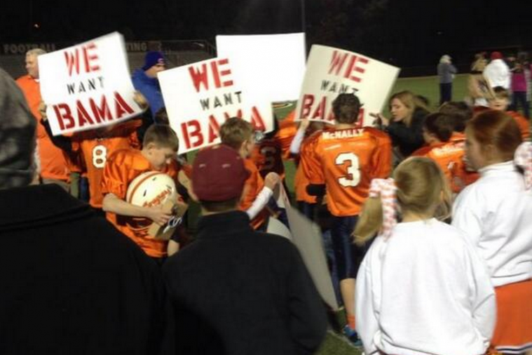 Youth Football Team in Alabama the Latest to Hold Up 'We Want Bama' Signs