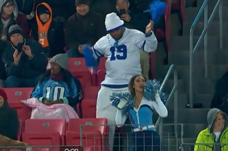 Colts Fan Attempts to Outdance Oblivious Titans Cheerleader
