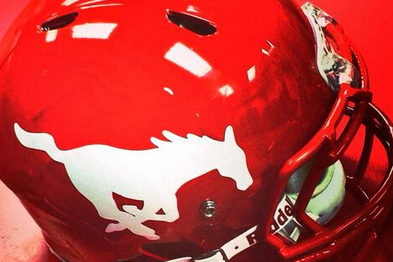 Photo: SMU Unveils New White-on-Red Helmet for Game Against UConn