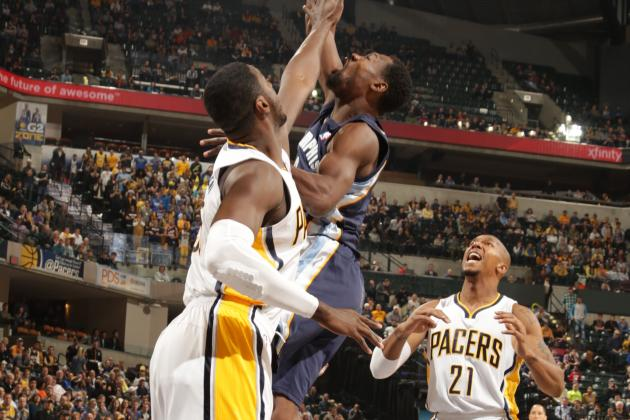 Roy Hibbert Blocks Shot into Miroslav Raduljica's Face