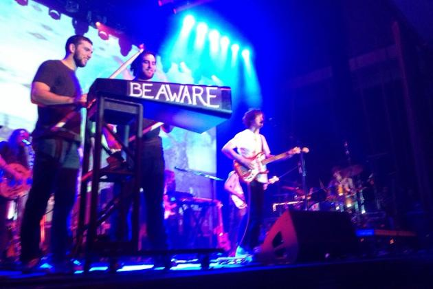 Andrew Luck and Anthony Costanzo Play Cowbell at MGMT Concert