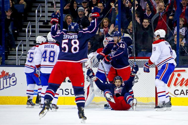 Columbus Blue Jackets Combine to Score NHL's Wackiest Goal of the Year