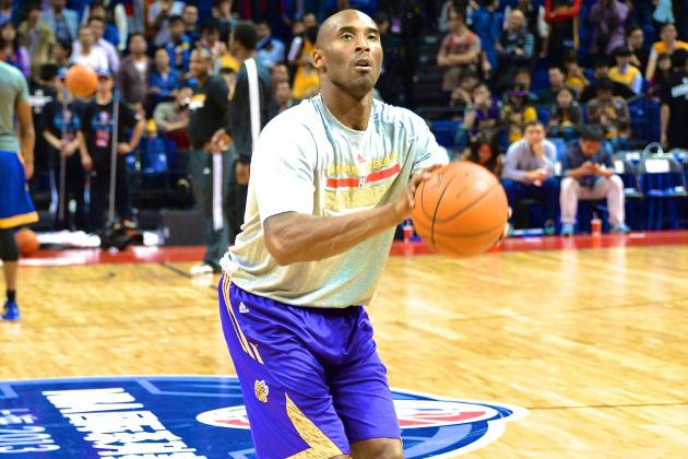Kobe Bryant Returns to Lakers Practice for First Time Since Achilles Injury
