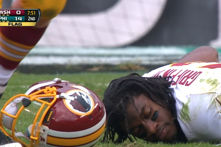 Robert Griffin III Gets Blasted by Eagles Defender, Loses Helmet and Football