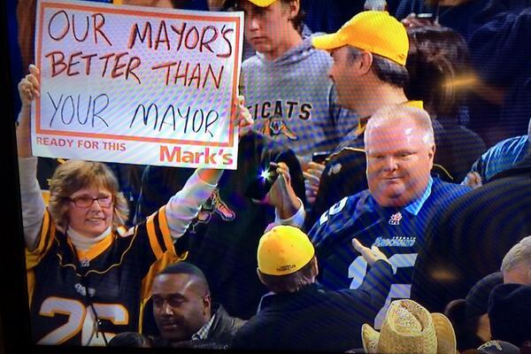 Toronto Mayor Rob Ford Attends CFL Playoff Game, Gets Mocked by Hamilton Fan