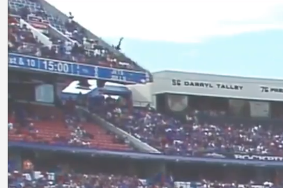 CBS Broadcast Shows Fan Falling From Upper Deck At Ralph Wilson Stadium