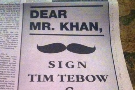 Jaguars Fans Take out Giant, Mustachioed Ad in Newspaper Begging for Tim Tebow