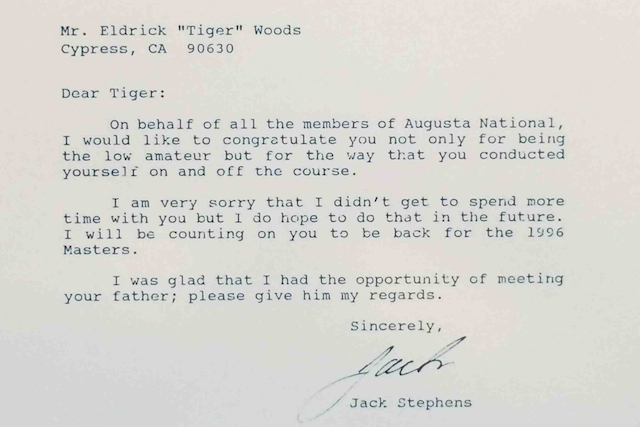 Tiger Woods' Old Letters from Stanford and Augusta National Appear Online