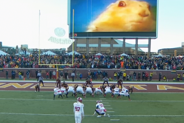Minnesota Displays 'Dramatic Look Gopher' on Big Screen for Opponent FG