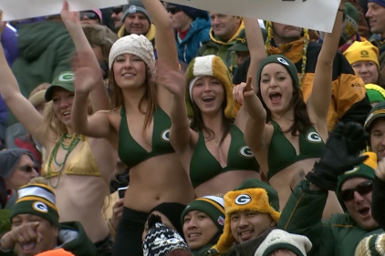Female Packers Fans Wear Bikini Tops in Chilly Weather