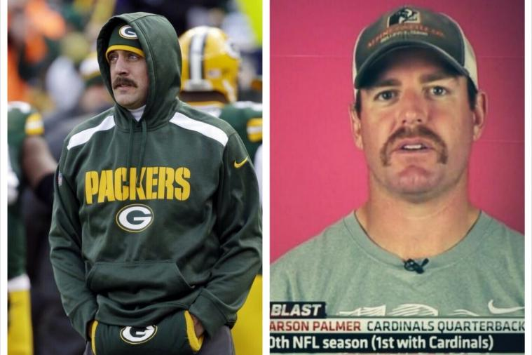 Aaron Rodgers and Carson Palmer Grow 'Movember' Mustaches