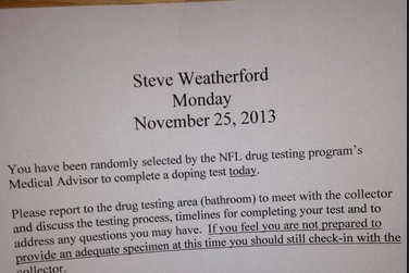 Steve Weatherford Tweets He Must Take Random Drug Test After Career Game