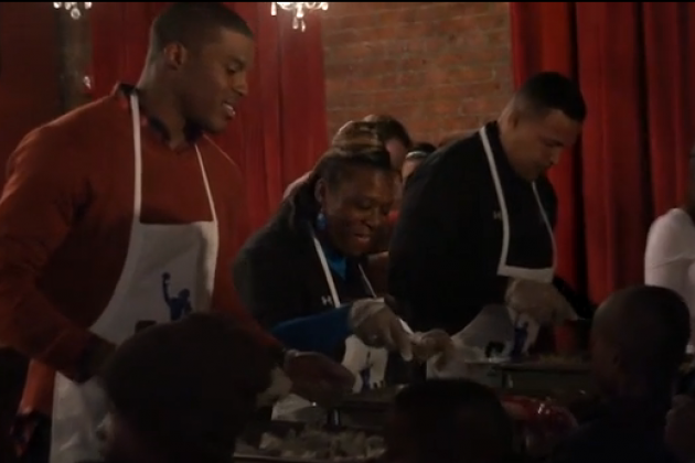 Cam Newton Reveals Pescetarian Diet at His Thanksgiving Charity Event