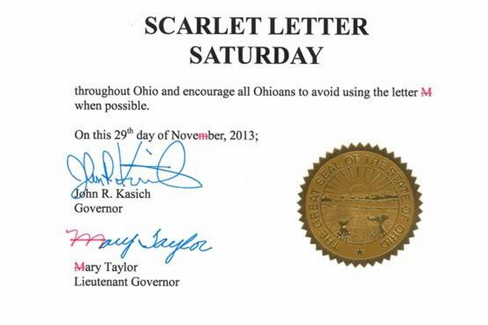Ohio Governor Urges Citizens to Avoid 'M' Prior to Ohio State vs. Michigan