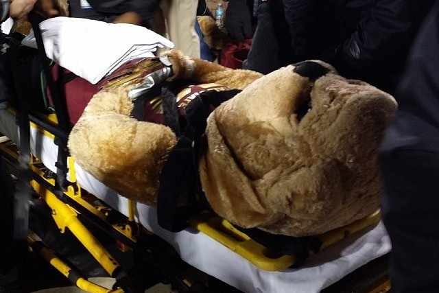 Mississippi State Mascot Taken off on a Stretcher After Being Hit by ESPN Cart