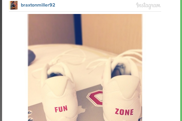 "Photo: Miller to Wear Cleats That Read ""Fun Zone"" on the Back Today"