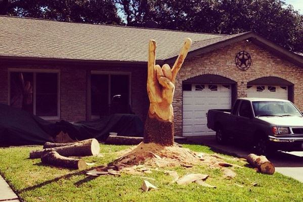 Texas Longhorns Fan Creates Hook 'Em Horns out of  Dead Tree Stump