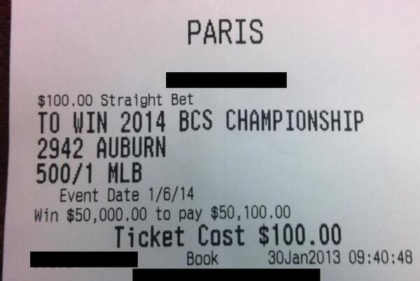 Auburn Graduate's $100 Bet Could Earn Him $50,000 If Tigers Win BCS Title