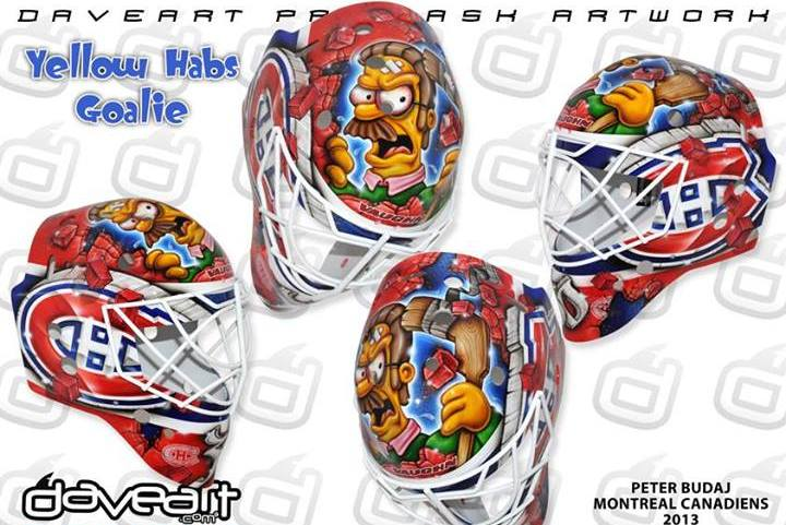 An Angry Ned Flanders Appears on Canadiens Goalie Peter Budaj's Mask