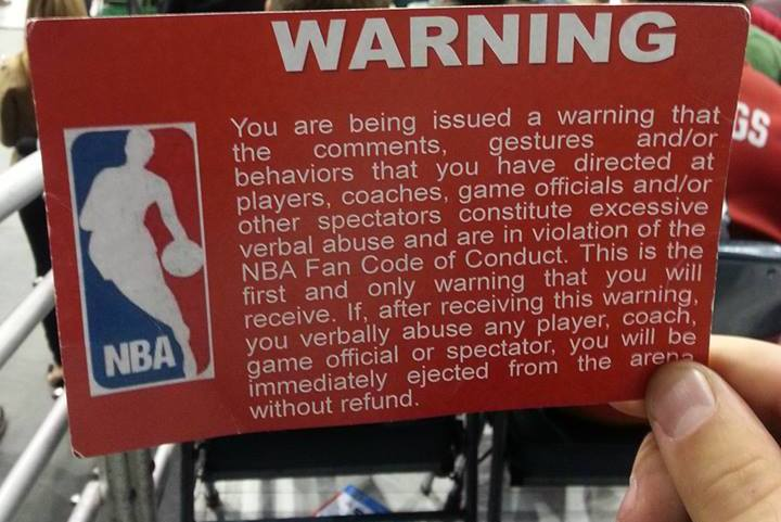 The NBA Is Handing Out Code of Conduct Warning Cards to Fans