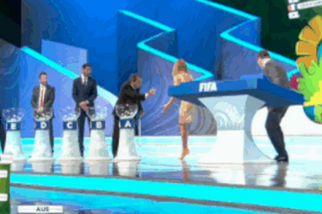 GIF: Presenter Fernanda Lima Drops Ball at World Cup 2014 Draw
