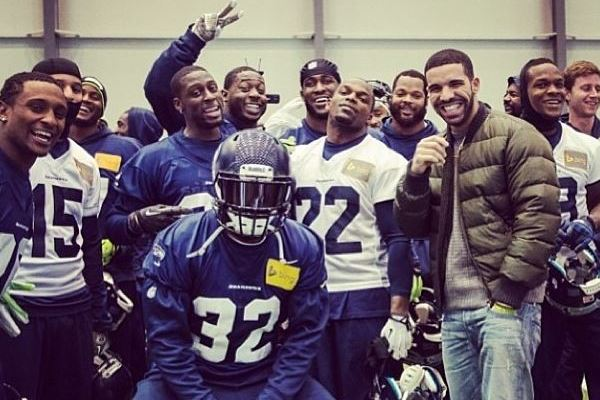 Drake Stops by a Seattle Seahawks Practice