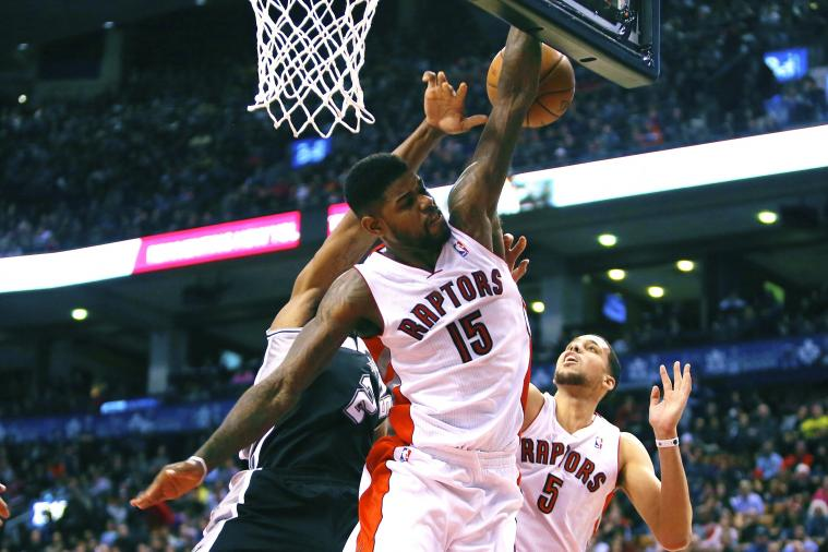 Amir Johnson Puts Kawhi Leonard on His Back with Devastating Block