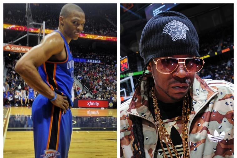 Rapper 2 Chainz Snaps Courtside Photo of Russell Westbrook at Thunder-Hawks