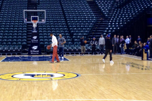Paul George Celebrates Win over Heat by Playing Horse with Justin Timberlake
