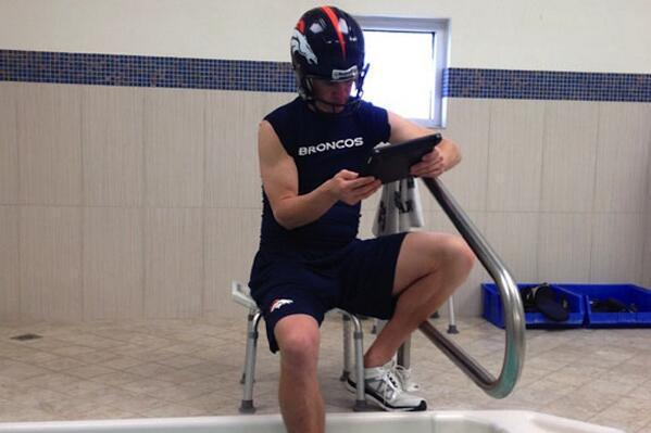 Broncos Explain Why Peyton Manning Watched Film While Wearing Helmet in Tub
