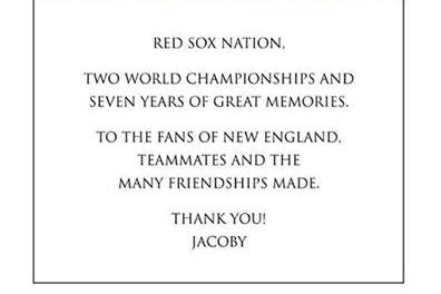 Jacoby Ellsbury Leaves Red Sox with Class, Thanks Boston Fans with Globe Ad