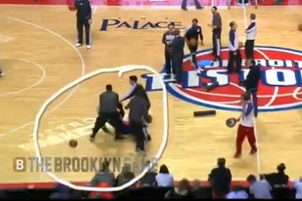 Watch Brooklyn Nets Players 'Jump' Detroit Pistons Mascot