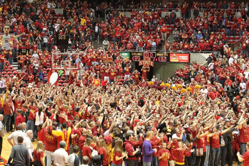 Iowa state rising hilton magic as daunting as anything in college dec 13 2013 ames ia usa iowa state cyclones fans celebrate publicscrutiny Images