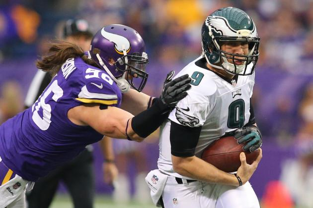 Depleted Vikings Upset Eagles' Playoff Bid 48-30