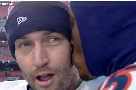 Brandon Marshall Gives Jay Cutler a Kiss, Shirtless Chicago Bears Fans Celebrate